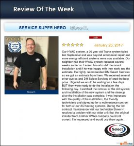 "Photo of DM Select HVAC technician Steve H., who received a 5-star review and was named ""Service Super Hero""."