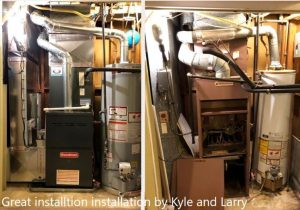 Before-and-after shots, showing a chaotic-looking old system, and the new HVAC installation replacement unit, that is clean and organized.