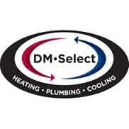 "Oval-shaped logo that says, ""DM Select. Heating.Plumbing.Cooling."