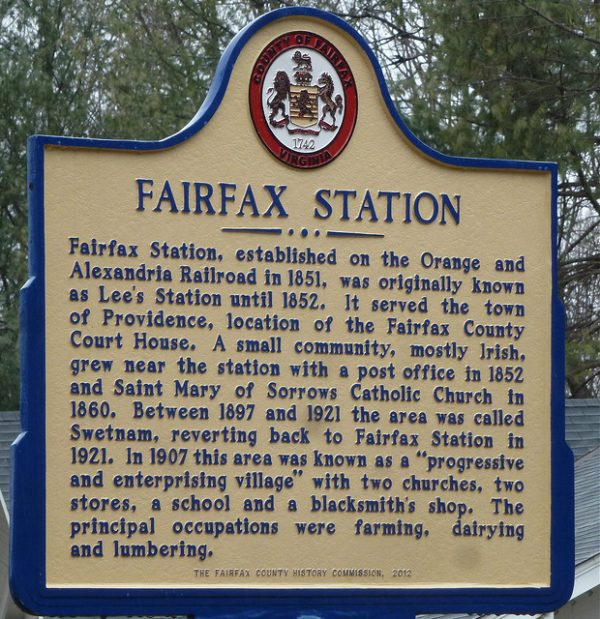 A sign posted at Fairfax Station that tells the history of the town, which was established in 1851.