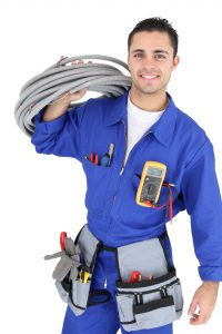 Image of a cheerful air conditioning repair techinician.