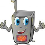 Cartoon of a smiling furnace with arms outstretched and a cozy orange fire glowing in the grate.