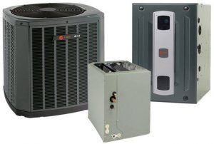 Image shows a heating and cooling system including heat pump.