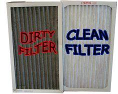 Image shows a dirty air con filter next to a clean one.