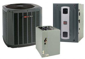 A hybrid HVAC system with compressor, furnace, and heat pump.